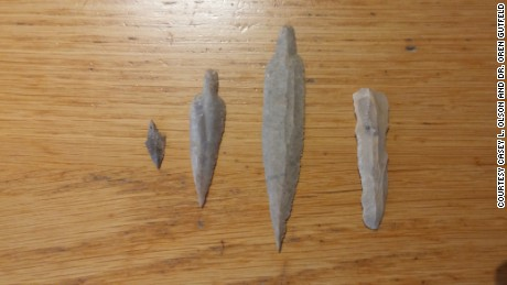 Neolithic flint tools found inside the newly discovered cave.