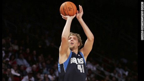 HOUSTON - FEBRUARY 18:  Dirk Nowitzki #41 of the Dallas Mavericks shoots in the Footlocker Three-Point Shootout competition during NBA All-Star Weekend at the Toyota Center on February 18, 2006 in Houston, Texas.  NOTE TO USER: User expressly acknowledges and agrees that, by downloading and/or using this Photograph, user is consenting to the terms and conditions of the Getty Images License Agreement.  (Photo by Ronald Martinez/Getty Images)