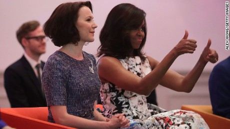 U.S. first lady Michelle Obama (R) and Jenni Haukio (2nd R), spouse of the President of Finland, watch a dance performance during a visit at the Renwick Gallery May 13, 2016 in Washington, DC. President Barack Obama and the first lady are hosting the heads of the five nations for a U.S.-Nordic Leaders Summit.