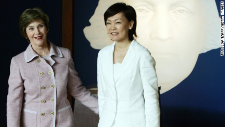 First Lady Laura Bush(L), and Akie Abe, wife of Japanese Prime Minister Shinzo Abe, tour the newly opened museum at the Mount Vernon estate of George Washington, 26 April, 2007, in Mount Vernon, Virginia.