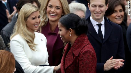 WASHINGTON, DC - JANUARY 20: First lady Michelle Obama (C) greets (L-R) Ivanka Trump, Vanessa Trump and Jared Kushner as she arrives for the inauguration of U.S. President-elect Donald Trump on the West Front of the U.S. Capitol on January 20, 2017 in Washington, DC. In today's inauguration ceremony Donald J. Trump becomes the 45th president of the United States.