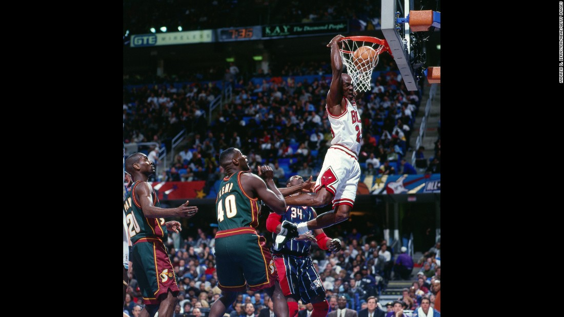 <strong>Triple-doubles:</strong> Michael Jordan dunks the ball during the 1997 All-Star Game in Cleveland. He finished with 14 points, 11 rebounds and 11 assists for the first triple-double in All-Star history. Only two other players have accomplished the feat: LeBron James in 2011 and Dwayne Wade in 2012.