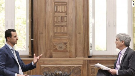 President Bashar al-Assad talks to a Yahoo News reporter, in an interview published Friday by Syrian state-run SANA.