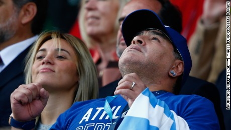 LEICESTER, ENGLAND - OCTOBER 04:  Diego Maradona is seen on the stand prior to the 2015 Rugby World Cup Pool C match between Argentina and Tonga at Leicester City Stadium on October 4, 2015 in Leicester, United Kingdom.  (Photo by Laurence Griffiths/Getty Images)