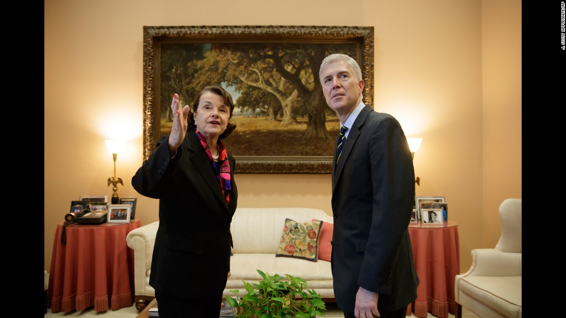 Supreme Court nominee Neil Gorsuch meets with US Sen. Dianne Feinstein on Monday, February 6. Gorsuch has been in Washington visiting with senators from both parties.