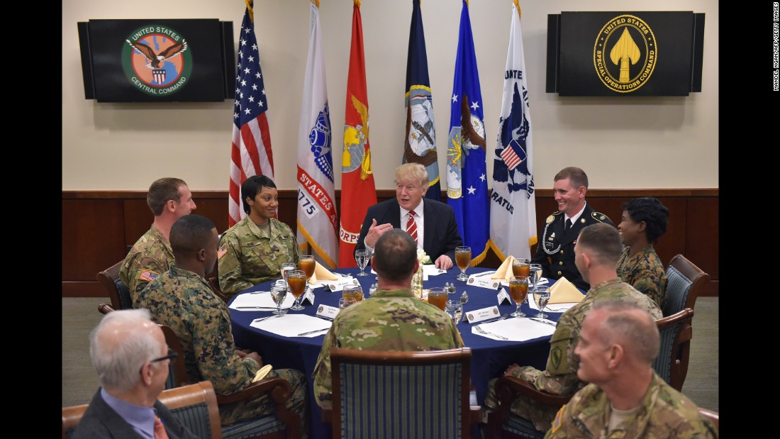 President Trump sits for lunch with troops during a visit to US Central Command, which is headquartered at MacDill Air Force Base in Tampa, Florida, on Monday, February 6.