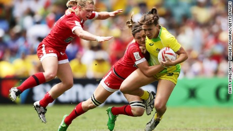 SYDNEY, AUSTRALIA - FEBRUARY 04:  Evania Pelite of Australia is tackled during the womens semi final match between Australia and Canada in the 2017 HSBC Sydney Sevens at Allianz Stadium on February 4, 2017 in Sydney, Australia.  (Photo by Matt King/Getty Images)
