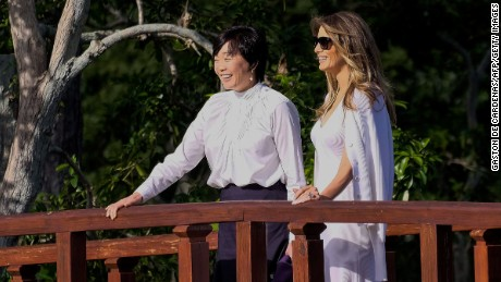 First Lady and Akie Abe visit Morikami garden
