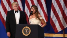 Trump gives a speech during one of the inaugural balls in Washington on Friday, January 20.