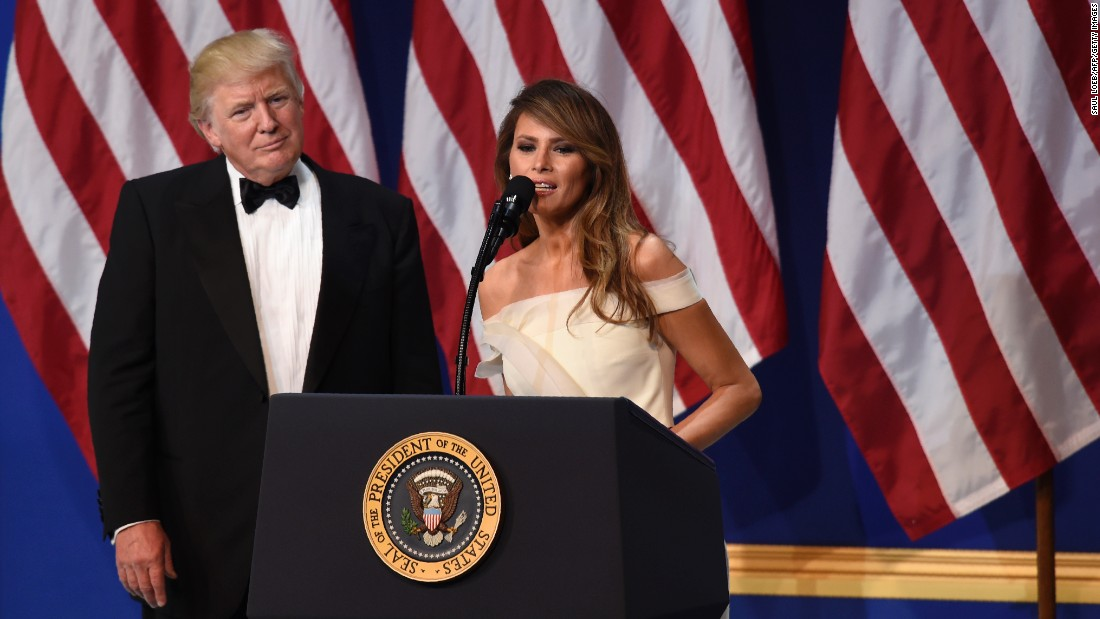 Trump gives a speech during one of the inaugural balls in Washington in January 2017.