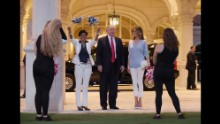 The Trumps arrive at Trump International Golf Club in West Palm Beach, Florida, on Sunday, February 5. The Trumps were attending a Super Bowl party at the club.