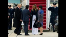 The first lady shakes hands with Japanese Prime Minister Shinzo Abe before boarding Air Force One with her husband on Friday, February 10. The Trumps hosted the Abes at their Mar-a-Lago estate in Palm Beach, Florida.