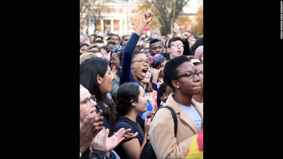 "<strong>Yale University</strong> students and faculty rally November 9, 2015, to demand the school become more inclusive to all students. The ""March of Resilience"" followed several racially charged incidents at Yale, including allegations that a fraternity turned a woman away from a party because she was not white."