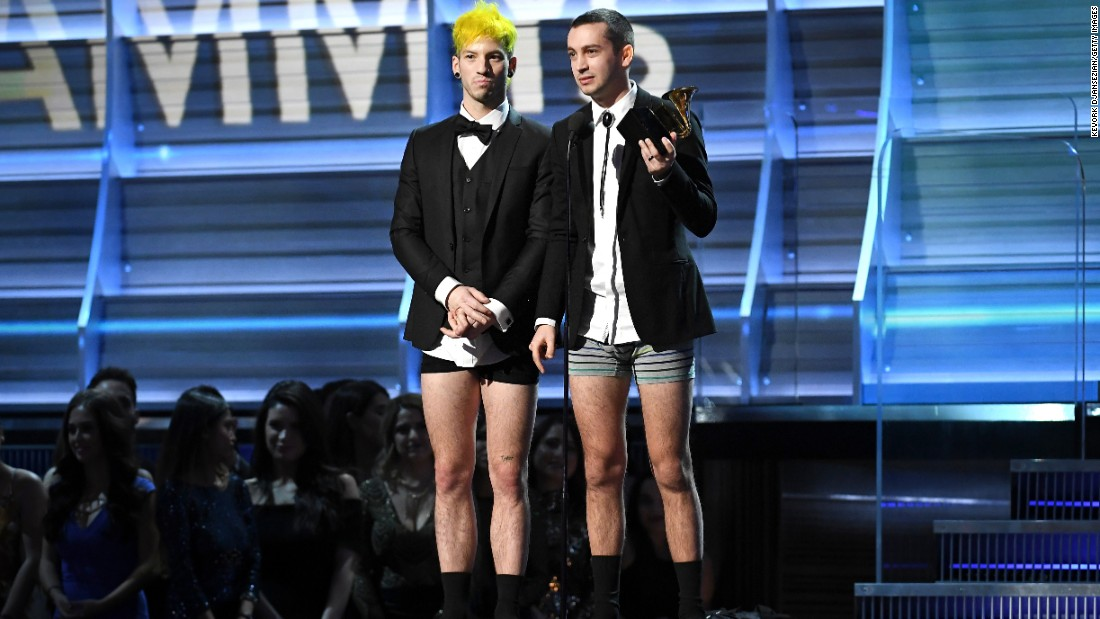 "Josh Dun, left, and Tyler Joseph of Twenty One Pilots took off their pants before accepting the award for best pop duo/group performance (""Stressed Out""). Joseph explained that as aspiring musicians years ago, they had watched the Grammys at his house in their underwear. They told each other that if they ever won a Grammy, they would receive it in their undies."