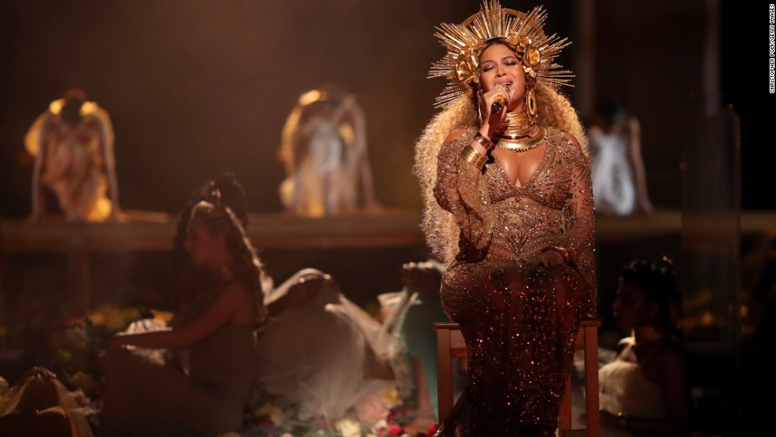 "Beyonce performs during the live show. She later won the Grammy for best urban contemporary album (""Lemonade"")."