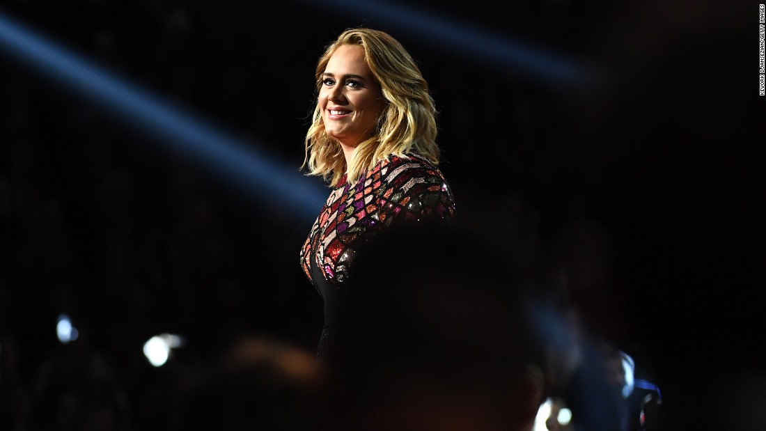 "Adele performs her song ""Hello"" at the start of the <a href=""http://www.cnn.com/2017/02/12/entertainment/grammys-2017/"" target=""_blank"">Grammy Awards show</a> on Sunday, February 12. It won song of the year, record of the year and best solo pop performance. Adele also won album of the year for ""25."""
