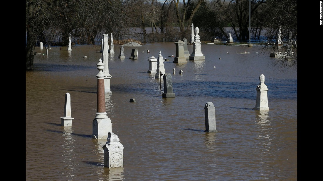 Floodwaters from the nearby Feather River inundate Marysville Cemetery in Marysville, California on February 11. Marysville is downriver from Oroville and would be affected by any uncontrolled release of water from the dam.