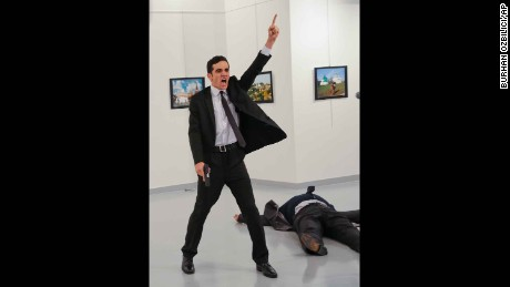 Burhan Ozbilici's photo captures the moment the Russian envoy was killed in December.