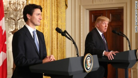 US President Donald Trump (R) and Canadian Prime Minister Justin Trudeau participate in a joint news conference in the East Room of the White House on February 13, 2017 in Washington, DC.