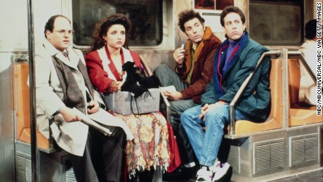 Jason Alexander as George Costanza, Julia Louis-Dreyfus as Elaine Benes, Michael Richards as Cosmo Kramer and Jerry Seinfeld in 'Seinfeld.'