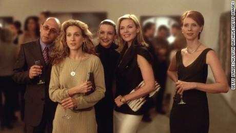 "Willie Garson, Sarah Jessica Parker, Kristian Davis, Kim Cattrall and Cynthia Nixon in ""Sex and the City."""