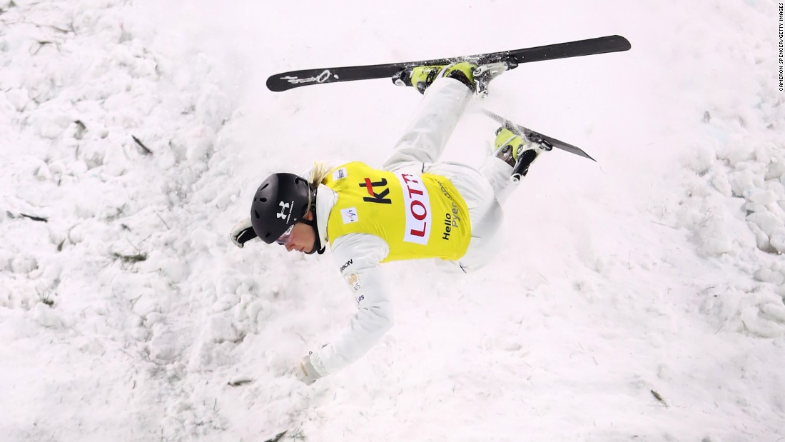 Australian freestyle skier Danielle Scott crashes during a World Cup aerials event in Pyeongchang, South Korea, on Friday, February 10.