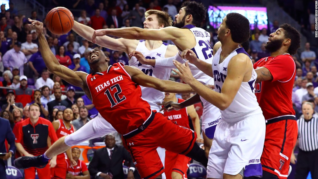 Texas Tech guard Keenan Evans has his shot blocked during a game at TCU on Tuesday, February 7.