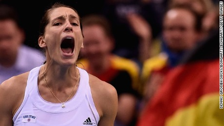 STUTTGART, GERMANY - FEBRUARY 07:  Andrea Petkovic of Germany celebrates after her victory in her single match against Samantha Stosur of Australia during the Fed Cup 2015 World Group First Round tennis between Germany and Australia at Porsche-Arena on February 7, 2015 in Stuttgart, Germany.  (Photo by Dennis Grombkowski/Bongarts/Getty Images)