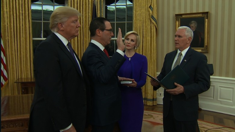 Steven Mnuchin sworn in as treasury secretary