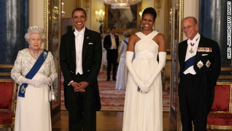Queen Elizabeth II with President Barack Obama, Michelle Obama and Prince Philip, Duke of Edinburgh.