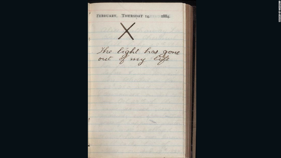 On the day his wife died, this is what Teddy Roosevelt wrote in his diary