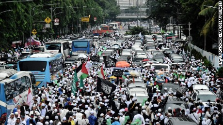 Indonesian Muslims take part in an anti-Ahok rally in Jakarta ahead of this week's election.