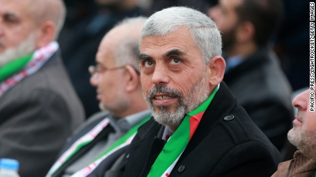 Hamas leader Yehya al-Sinwar at a festival in Khan Younis in the southern Gaza Strip.