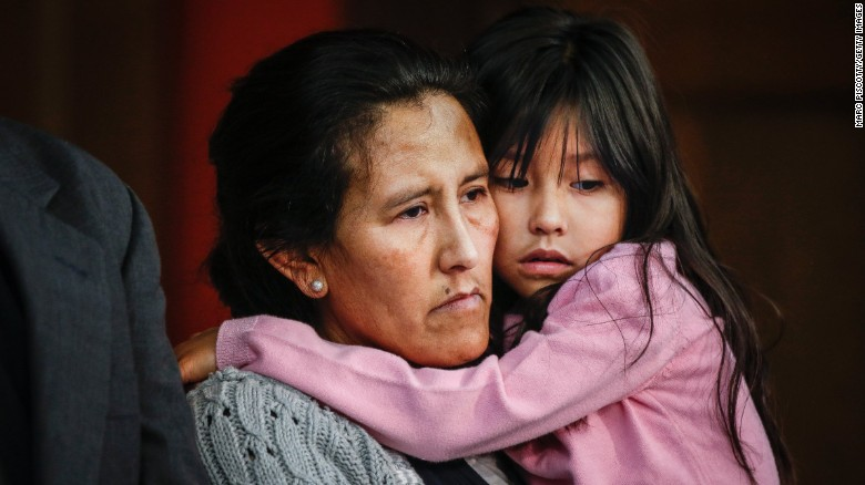 An undocumented mom breaks into tears after she is denied a stay of deportation.