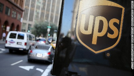 SAN FRANCISCO, CA - OCTOBER 24:  A United Parcel Service logo is displayed on a delivery truck on October 24, 2014 in San Francisco, California. United Parcel Service reported quarterly earnings that beat analyst estimates with revenue of $14.29 billion compared to $13.52 billion one year ago.  (Photo by Justin Sullivan/Getty Images)
