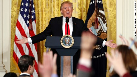 President Donald Trump speaks during a news conference, Thursday, February 16, 2017, in the East Room of the White House in Washington.