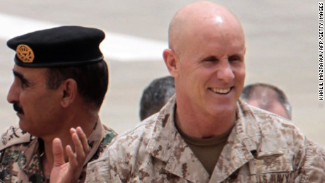 "The Jordanian Army's head of operations and training Major General Awni Adwan and deputy commander of US Central Command, US Navy Vice Admiral Robert S. Harward attend the ""Eager Lion"" joint military exercise at the King Abdullah Special Operations Training Centre in Amman on May 27, 2012."
