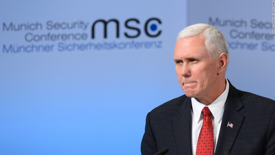Pence delivers a speech on the second day of the 53rd Munich Security Conference in Munich on February 18, 2017.