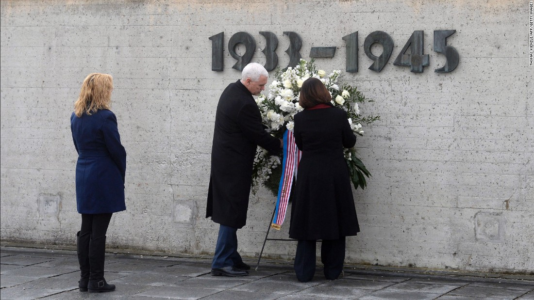 Pence, his wife, Karen, and his daughter Charlotte lay a wreath at the International Memorial of the former Nazi concentration camp of Dachau in southwestern Germany on February 19, 2017.