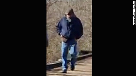 Police circulated this photo of a man who was on the Delphi Historic Trails on February 13.