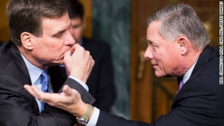 Sens. Mark Warner, left and  Richard Bur sent letters asking for materials to be kept, a Senate aide said.
