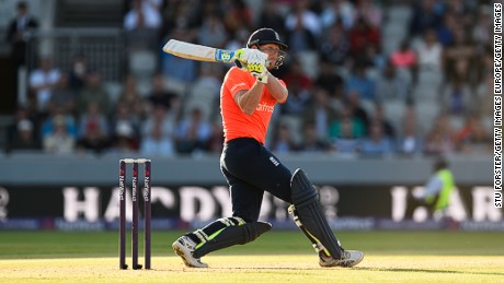 England's Ben Stokes smashes a ball to the boundary in a Twenty20 game against New Zealand in 2015.