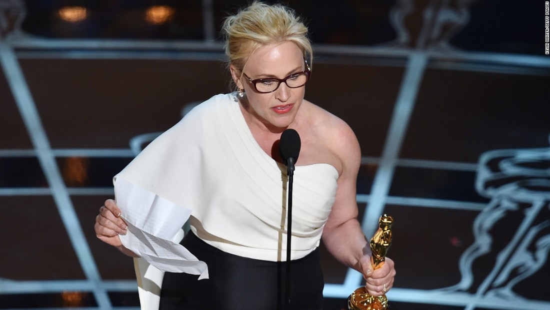 """...To every woman who gave birth. To every taxpayer and citizen of this nation, we have fought for everybody else's equal rights. It's our time to have wage equality once and for all and equal rights for women in the United States of America."" -- Patricia Arquette, accepting the best supporting actress award for her role in ""Boyhood"" at the 87th Academy Awards on February 22, 2015 at Dolby Theater"