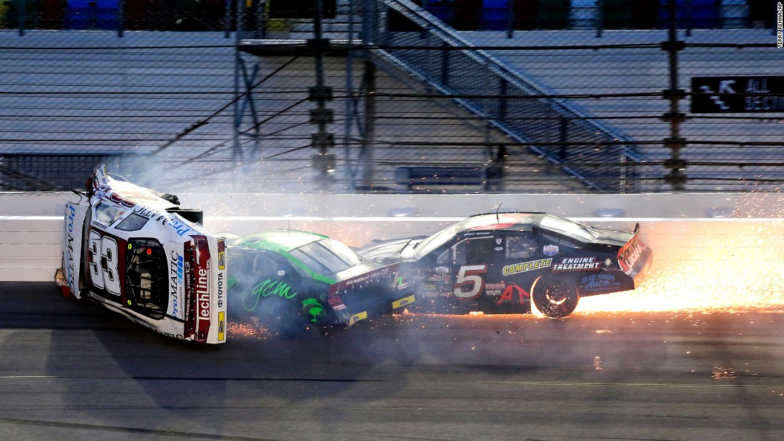 The car of Justin Fontaine flips during an ARCA crash in Daytona Beach, Florida, on Saturday, February 18. Fontaine was hospitalized with a fractured back.