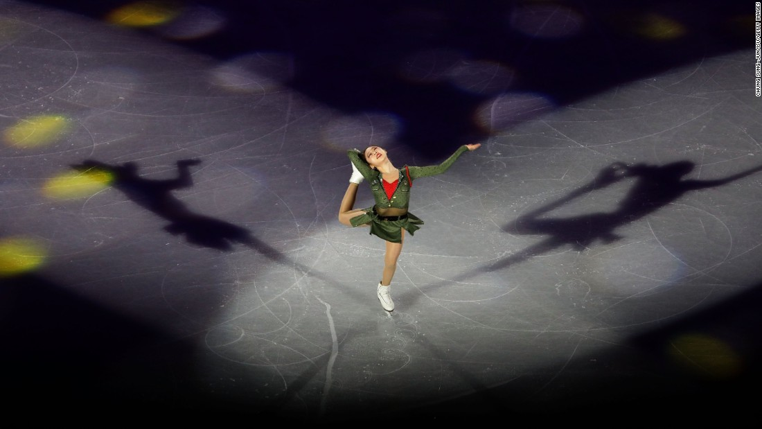 South Korean figure skater Choi Da-bin performs during the exhibition portion of the Four Continents event, which took place in Gangneung, South Korea, on Sunday, February 19.
