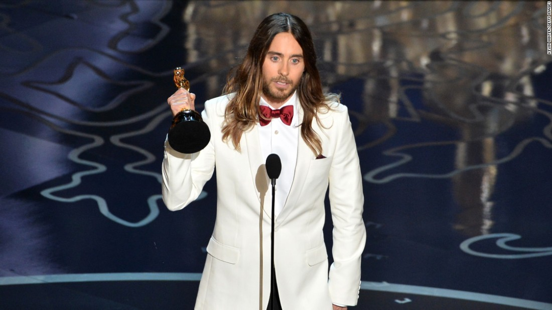 """...This is for the 36 million people who have lost the battle to AIDS. And to those of you out there who have ever felt injustice because of who you are or who you love, tonight I stand here in front of the world with you and for you."" -- Jared Leto, accepting the best actor in a supporting role award for his role in ""Dallas Buyers Club"" at the 86th Academy Awards on March 2, 2014 at the Dolby Theater"