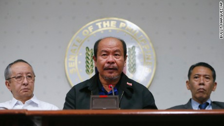 Retired police officer Arturo Lascanas speaks during a news conference at the Philippine Senate in suburban Pasay, south of Manila, on Monday, February 20.