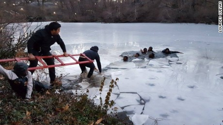 People extend a ladder to help teens out of ice water in Central Park.