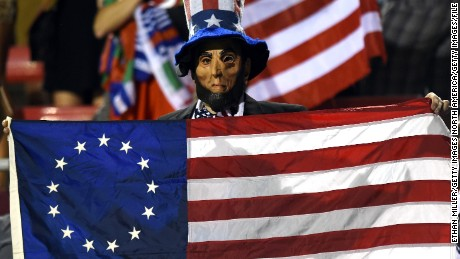 LAS VEGAS, NV - FEBRUARY 14:  A fan dressed as Abraham Lincoln cheers during the United States team's game against Canada during the USA Sevens Rugby tournament at Sam Boyd Stadium on February 14, 2015 in Las Vegas, Nevada. The United States won 20-0.  (Photo by Ethan Miller/Getty Images)