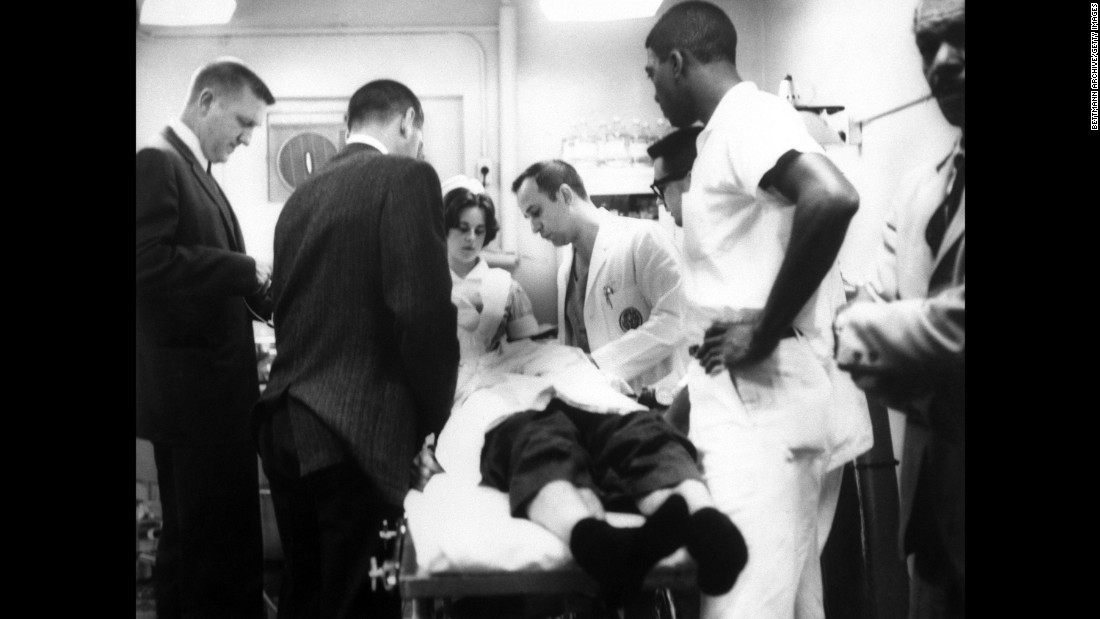 Doctors attend to James Reeb, a white minister from Boston who was attacked by white men for taking part in the demonstrations. He died on March 11, two days after he was beaten.